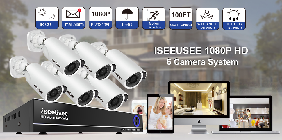 ISEEUSEE 8CH 1080N AHD Video security System 8Channel DVR W/6pcs 2.0MP Indoor/Outdoor Weatherproof Night Vision Cameras