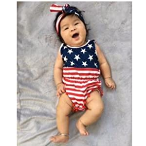 a155cc01a Amazon.com  Qin.Orianna 4th of July Toddler Baby Girl American Flag ...