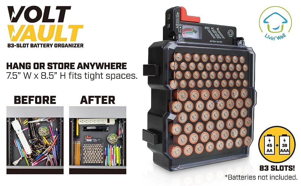uk availability 99031 536da Battery Organizer Storage Case with Battery Tester - Volt Vault 83 ...