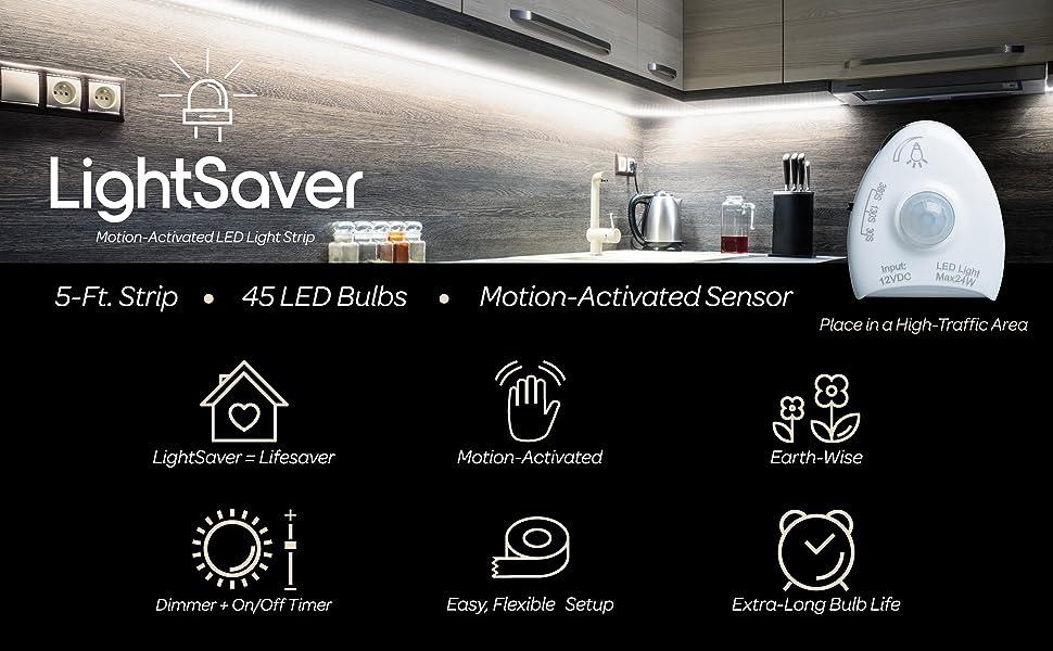 Kit de tira de luz regulable LED de 5 Pies con Movimiento LightSaver con respaldo adhesivo de 3M y función de ajuste de tiempo.