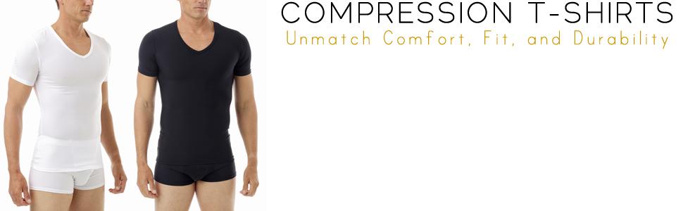 Underworks Mens Compression T Shirt 978 Large White Concealer Cotton V Neck