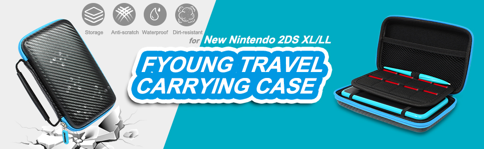 FYOUNG Travel  Case for Nintendo 2DS XL