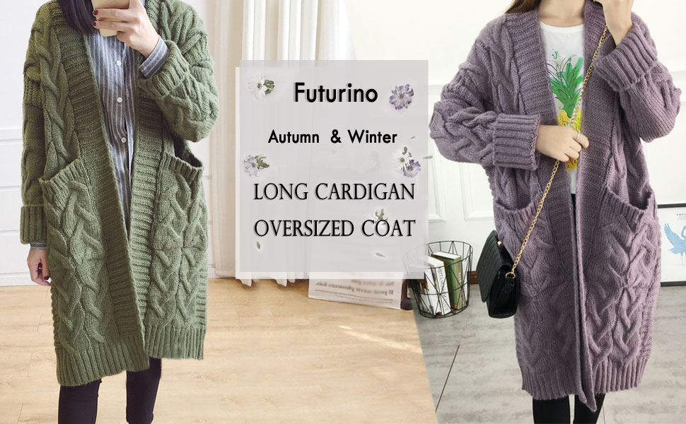 f3b64d0914 Futurino Women s Chunky Twist Knitted Open Front Patch Pocket Long Cardigan  Oversized Coat