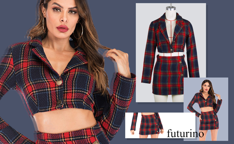 77fbe6d53f45 futurino Women's Long Sleeve Plaid Crop Top Bodycon Mini Skirt Outfit 2  Piece Set