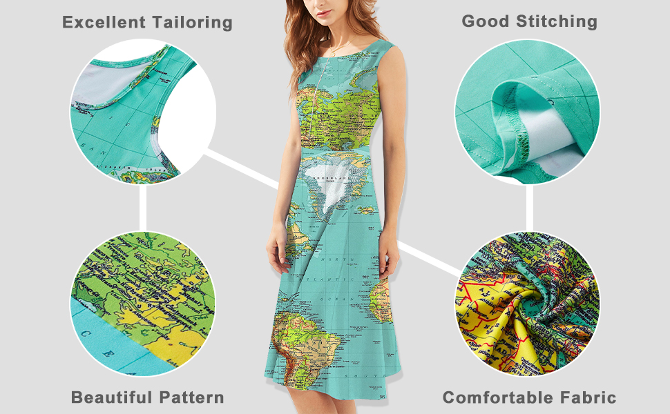 women world map dress