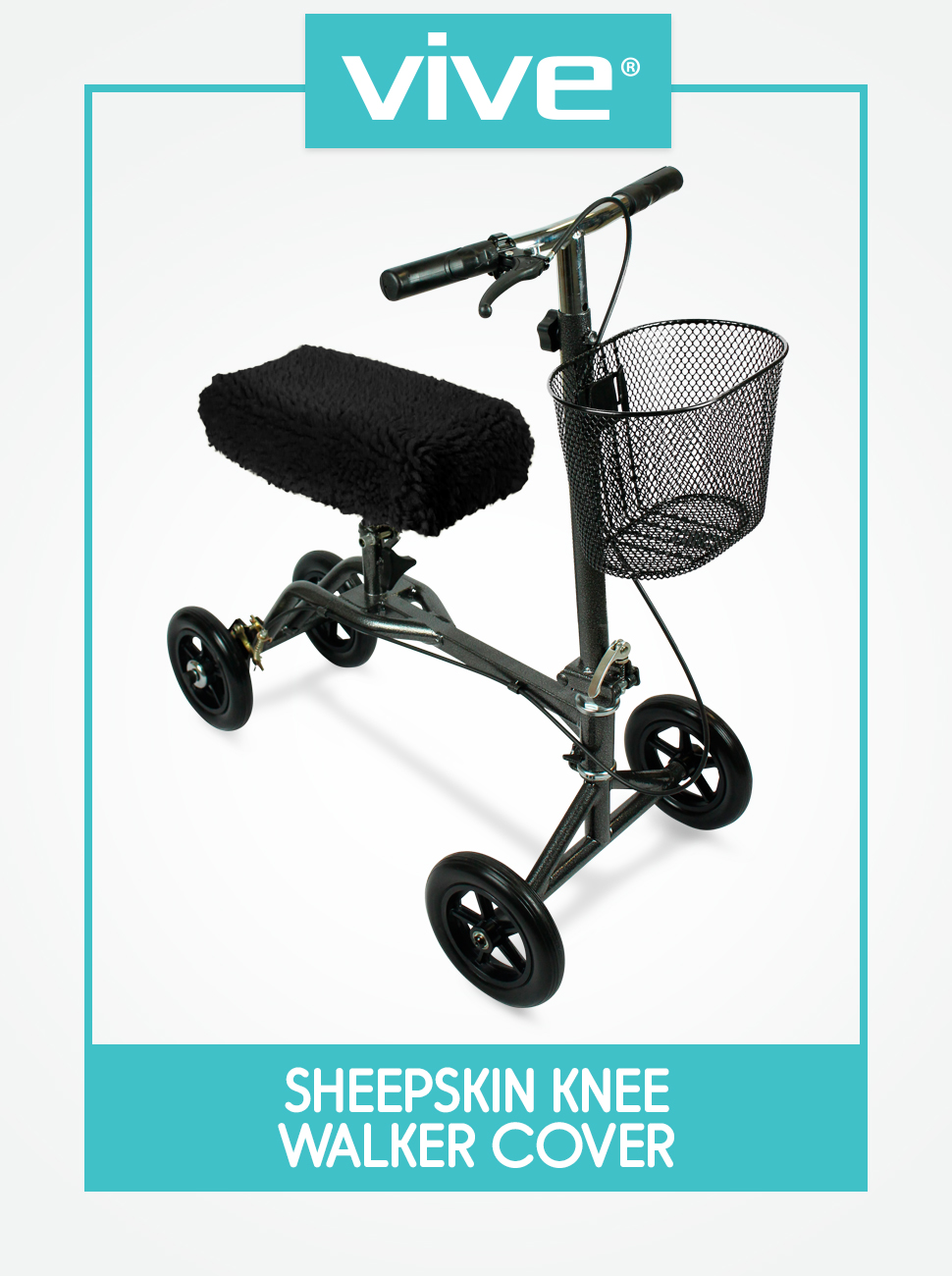 Knee Walker Pad Cover - Plush Synthetic Faux Sheepskin Scooter Cushion - Accessory for Knee roller