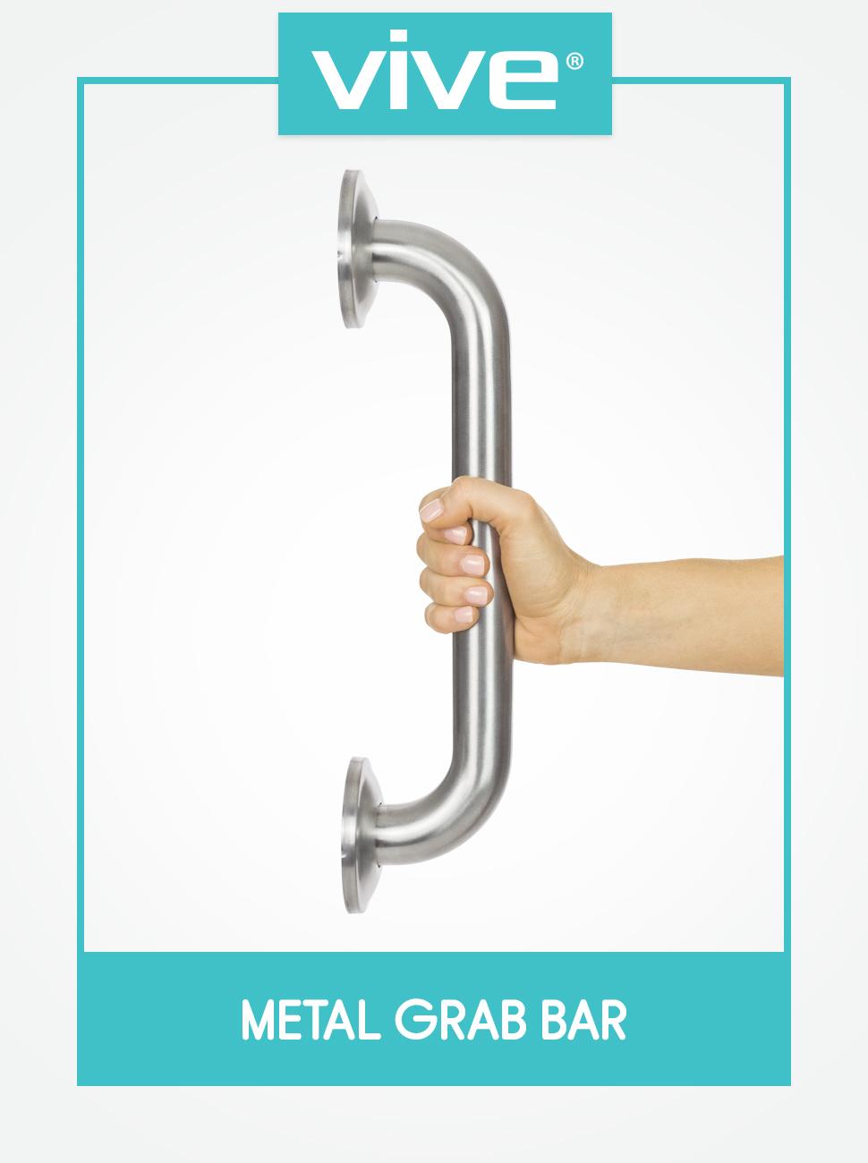 Vive Metal Grab Bar - Balance amp; Handrail Shower Assist - Bathroom amp; Bathtub Mounted Safety Hand