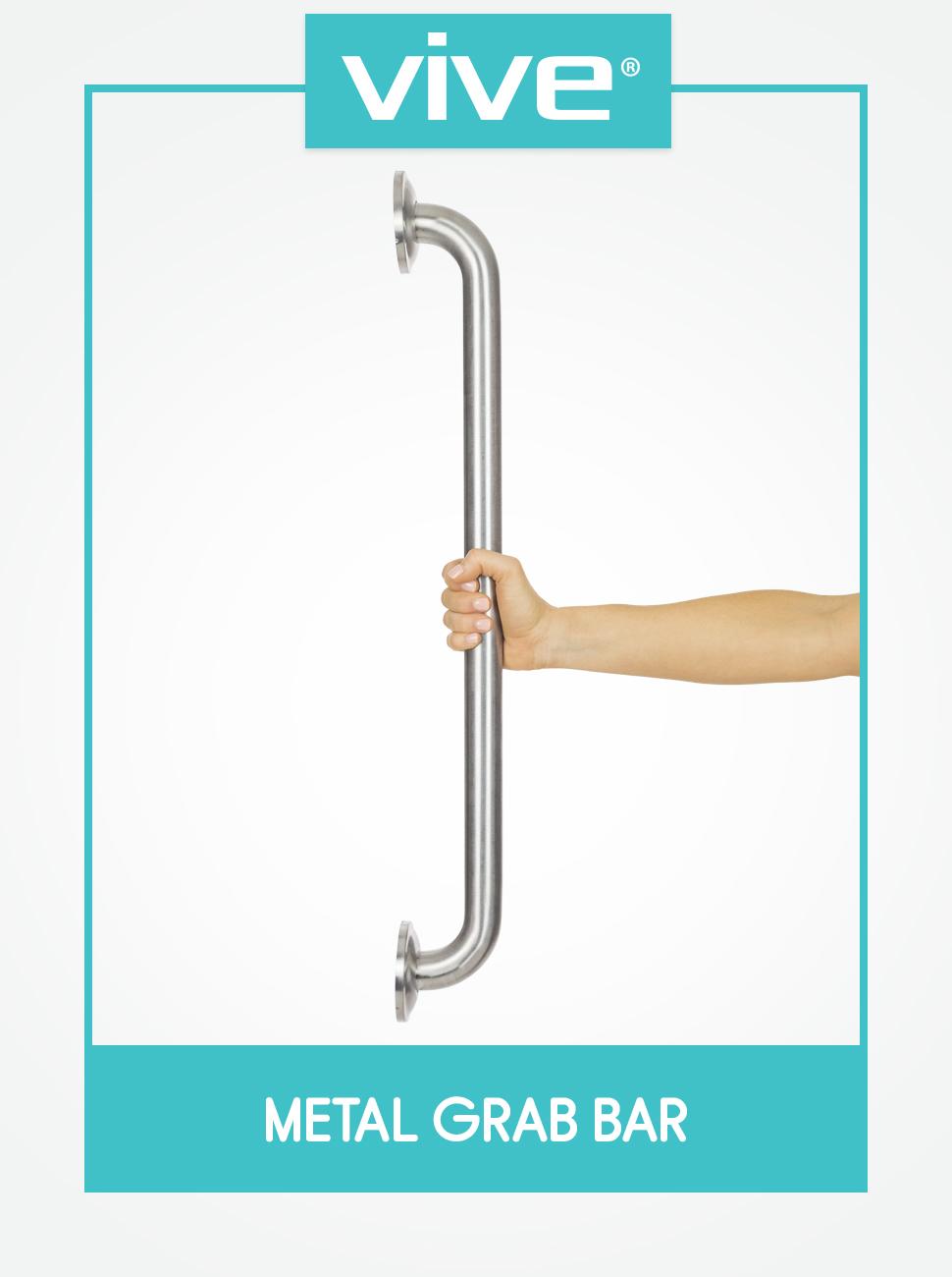 Vive Metal Grab Bar - Balance & Handrail Shower Assist - Bathroom & Bathtub Mounted Safety Hand
