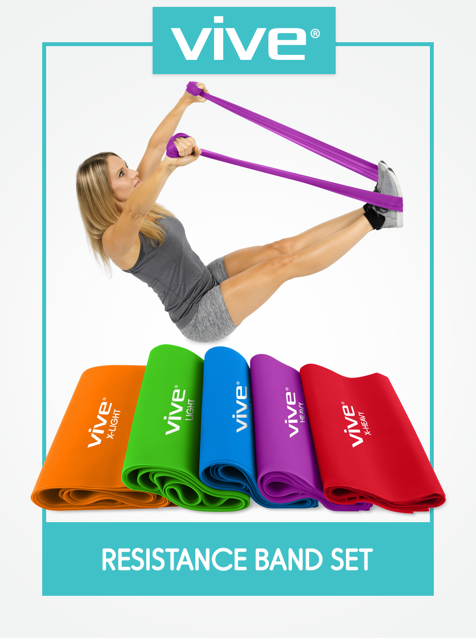 Vive Resistance Band (5 Piece Set) - Elastic Exercise Equipment - Straight Stretching Fitness