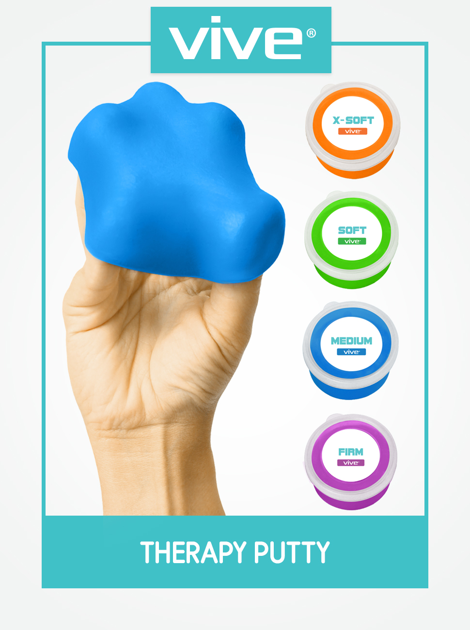 Vive Therapy Putty (12 oz) - Theraputty for Hand, Finger & Grip Strength  Resistance Exercises - Extra Soft,
