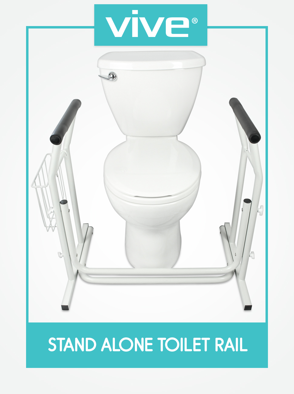 Stand Alone Toilet Rail - Medical Bathroom Safety Assist Frame with Support Grab Bar Handles & Raili