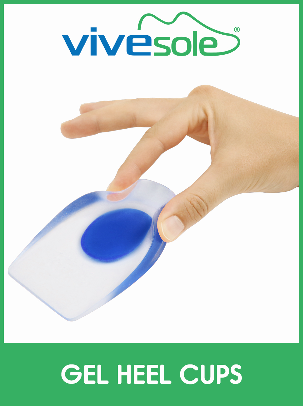 ViveSole Silicone Gel Heel Cups - Shoe Inserts for Plantar Fasciitis, Sore Heel amp; Achilles Pain