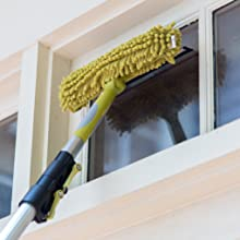 DocaPole Window Squeegee and Window Washer Combo on DocaPole cleaning window