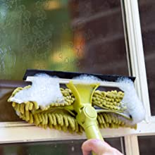 DocaPole Window Squeegee and Window Washer Combo - Microfiber chenille washer cleaning window