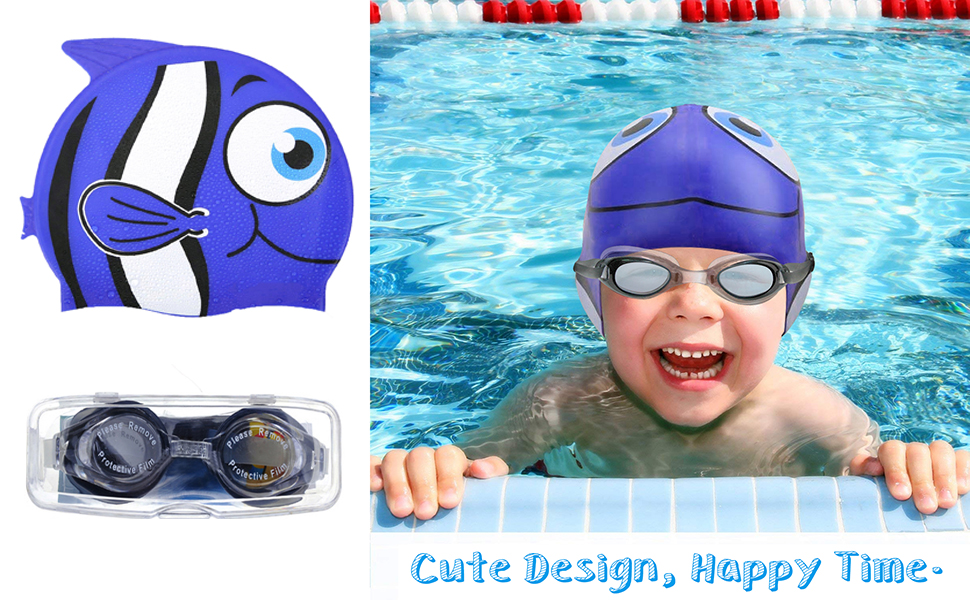 6410798b7879 Sealive Swim Cap for Kids, Fish Shape Toddler Swimming Cap for Boys with a  Kids Swim Goggles, High...