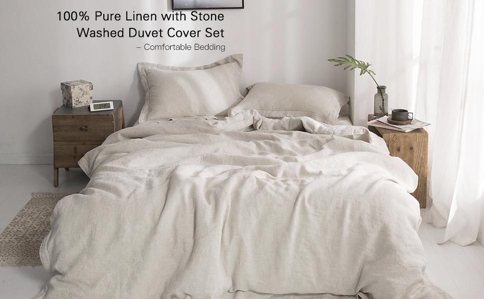 Amazon Com Simple Opulence 100 Washed Linen Duvet Cover Set 3