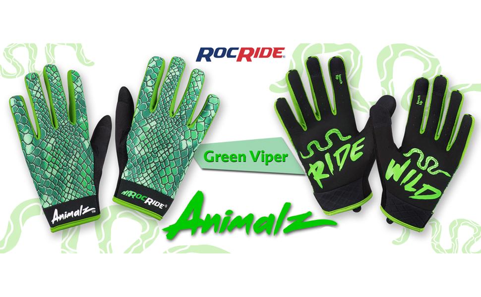 RocRide Animalz Green Viper Full Finger Cycling Gloves