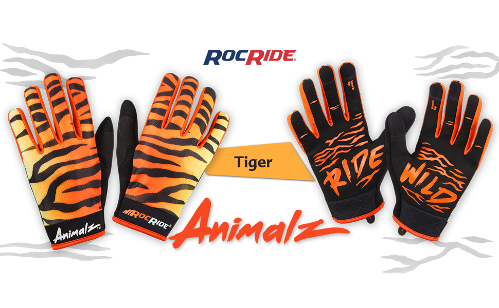 rocride animalz tiger cycling gloves