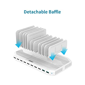 Unitek iPad Charging Station, 96W 10-Port USB Charging Dock with Quick Charge 3.0