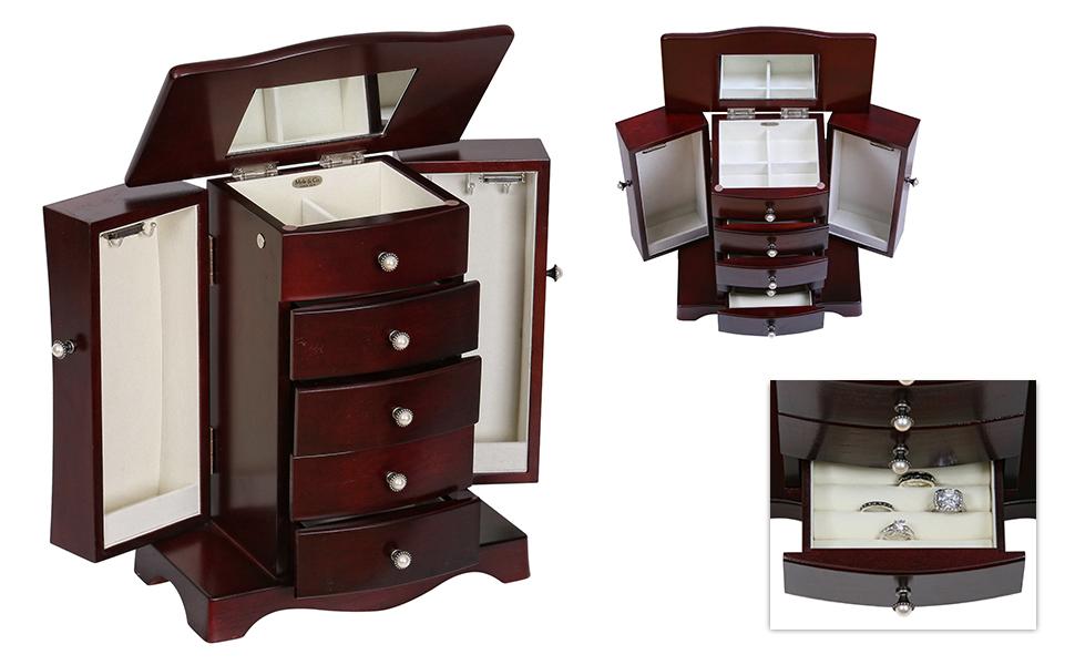 Amazoncom Mele Co Bette Wooden Jewelry Box Mahogany Finish