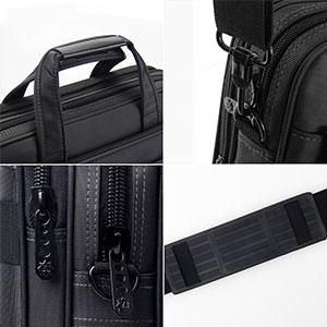 padded handle shoulder strap metal zippers
