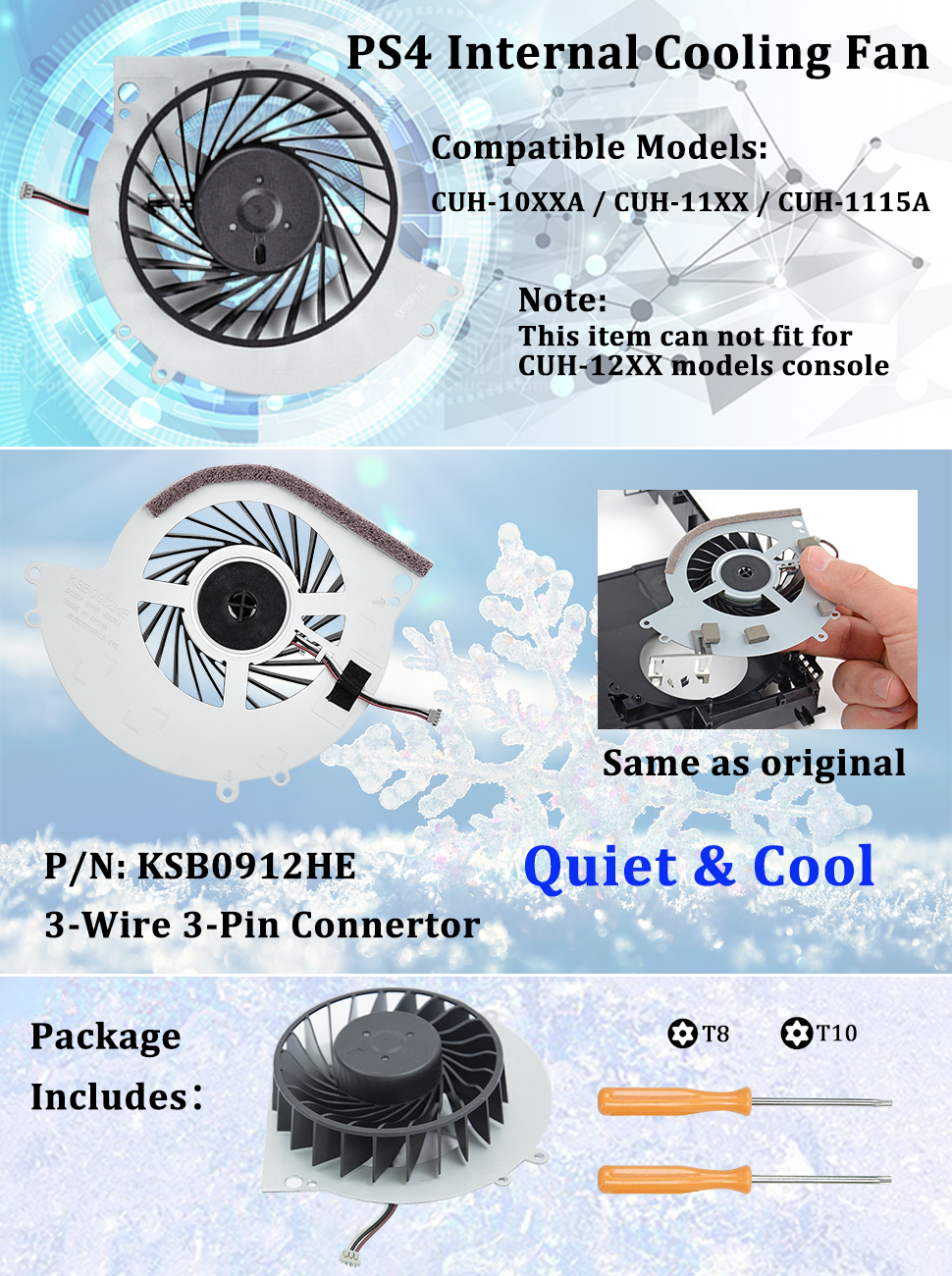 Amazon com: Replacement Internal Cooling Fan KSB0912HE for PS4 CUH