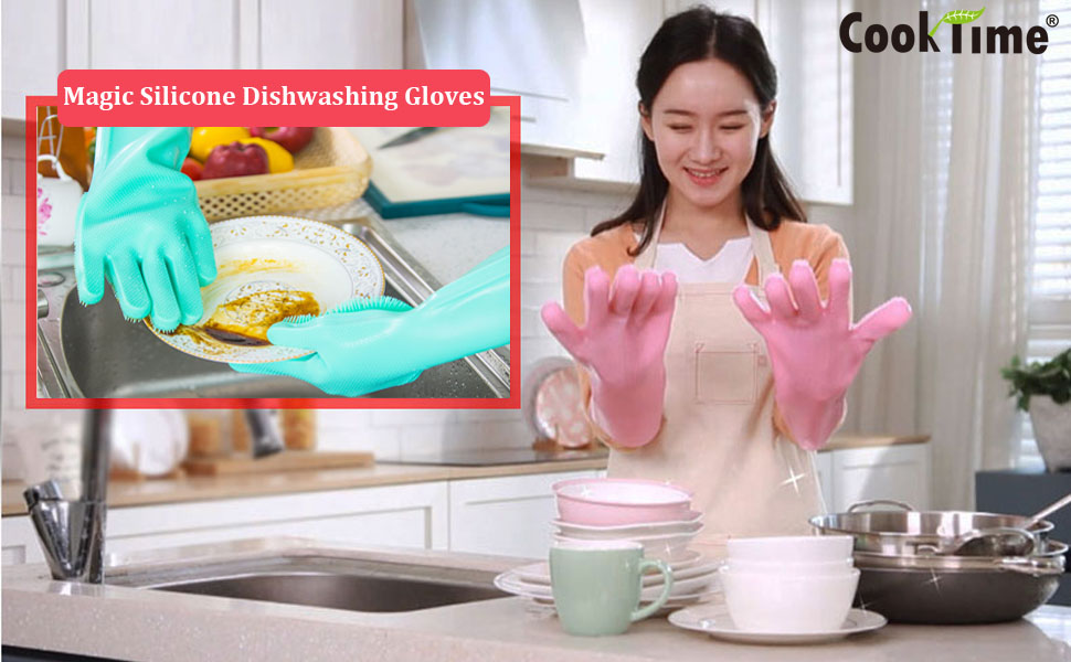 magic silicone gloves dishwashing,scrubbing gloves,cleaning with bristles,dish gloves with scrubbers