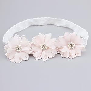 Kids Baby Girl Headwear Toddler Lace Pearl Flower Headband Hair Band Headwear JD