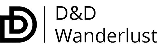 D&D Wanderlust logo. Toiletry bag, hanging toiletry bag, toiletry bag for men, travel toiletry bag