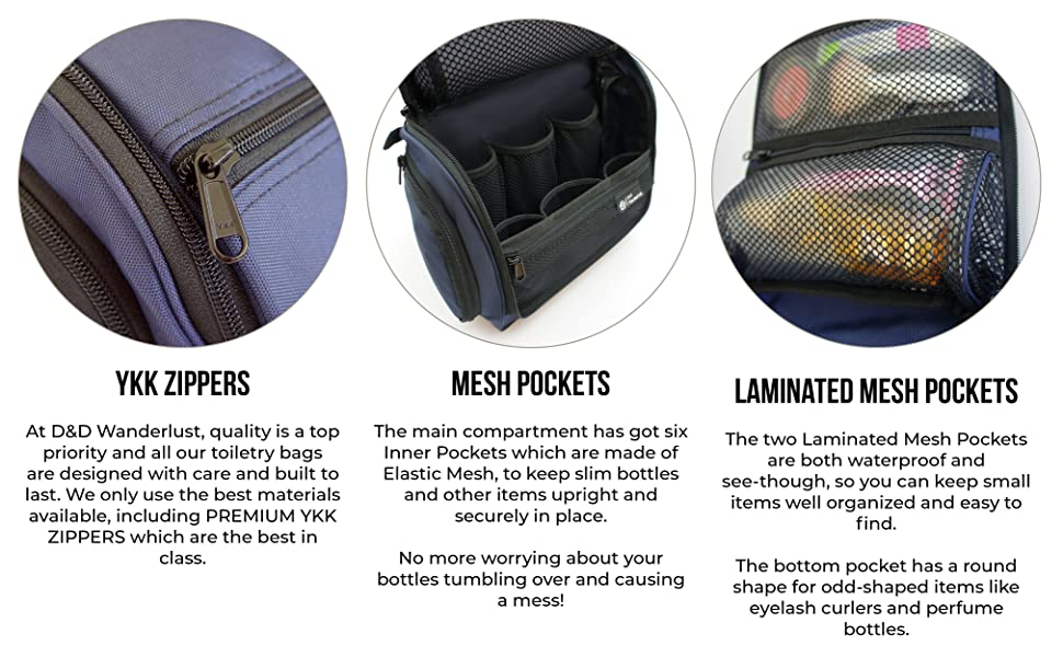 Premium quality YKK zippers, waterproof pockets, unisex, travel toiletries, gift idea, cosmetics bag