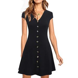 Short Black Dress Front Button Down Mini Party Dresses