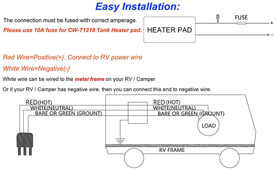Facon 12 X 18 Water Holding Tank Heater Pad With Automatic Thermostat Control For RV Camper Trailer 12V DC