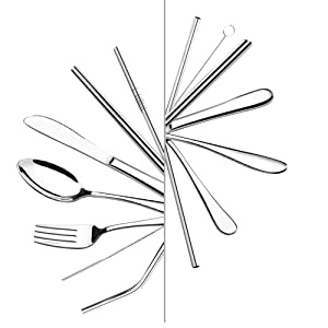 portable silverware set with case