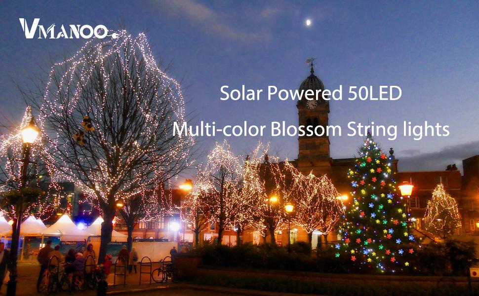 Amazoncom Vmanoo Solar Outdoor Christmas String Lights 21ft 50