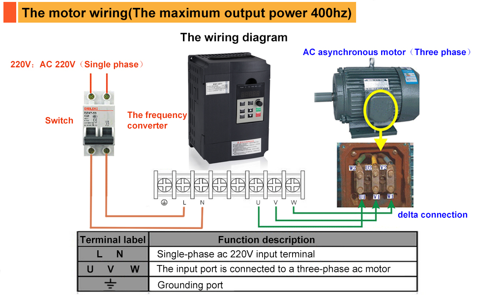 wiring 3 phase motor to vfd variable frequency drive  mysweety vfd inverter frequency  variable frequency drive  mysweety vfd
