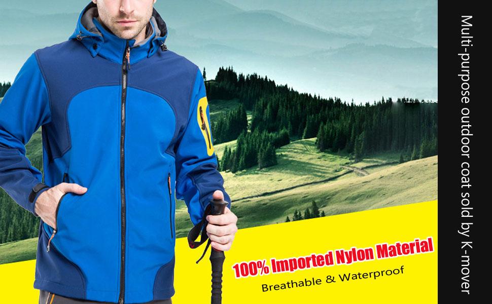 K-mover Mens 3-in-1 Hooded Outdoor Waterproof Windbreaker Breathable Jacket