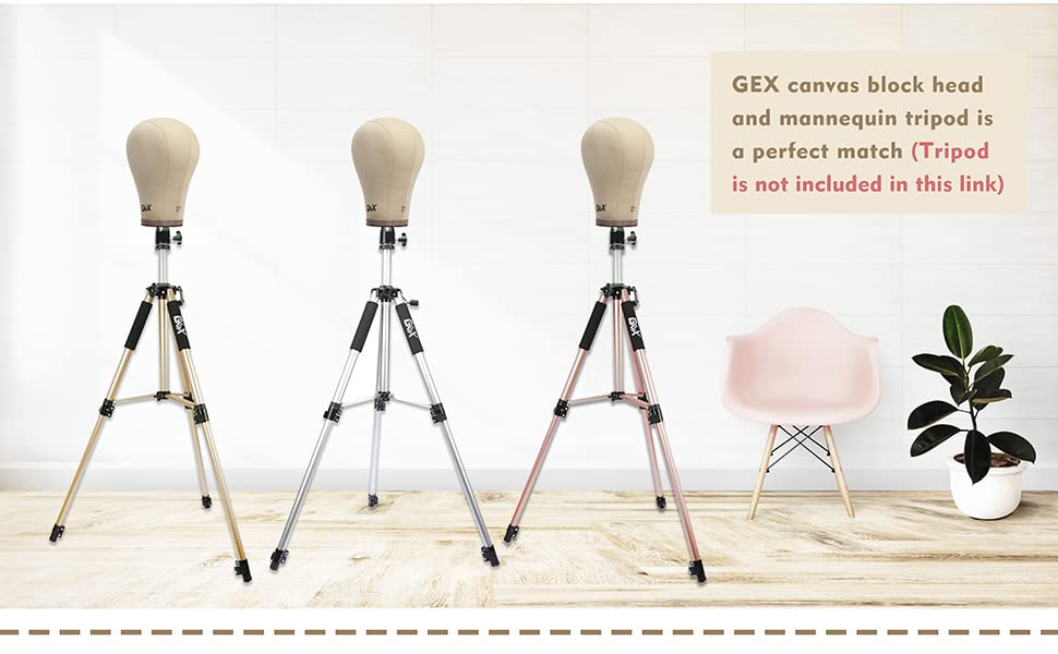 gex canvas block head and mannequin tripod
