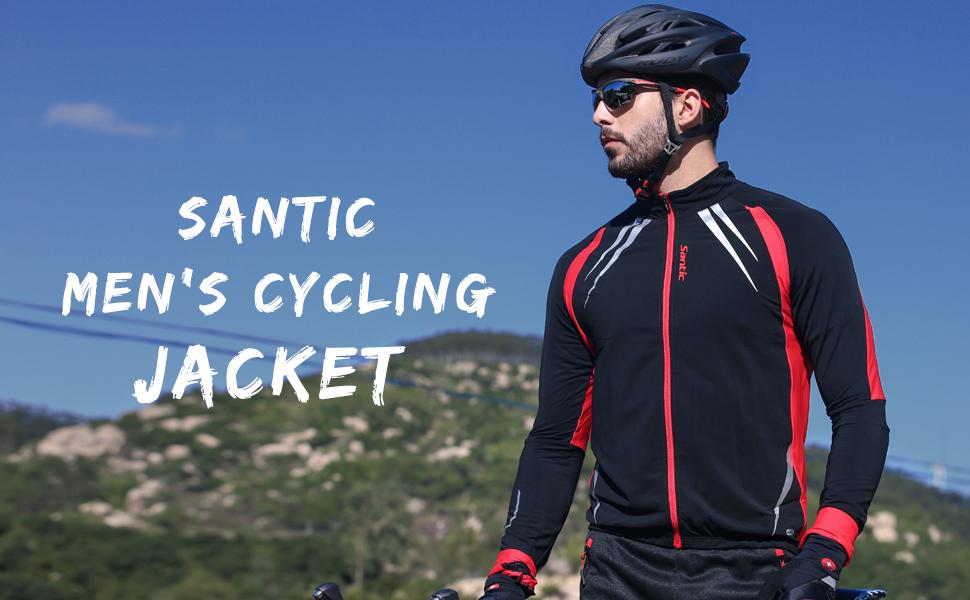 Amazon.com   Santic Men s Cycling Jacket Windproof Fleece Thermal ... e64969c92