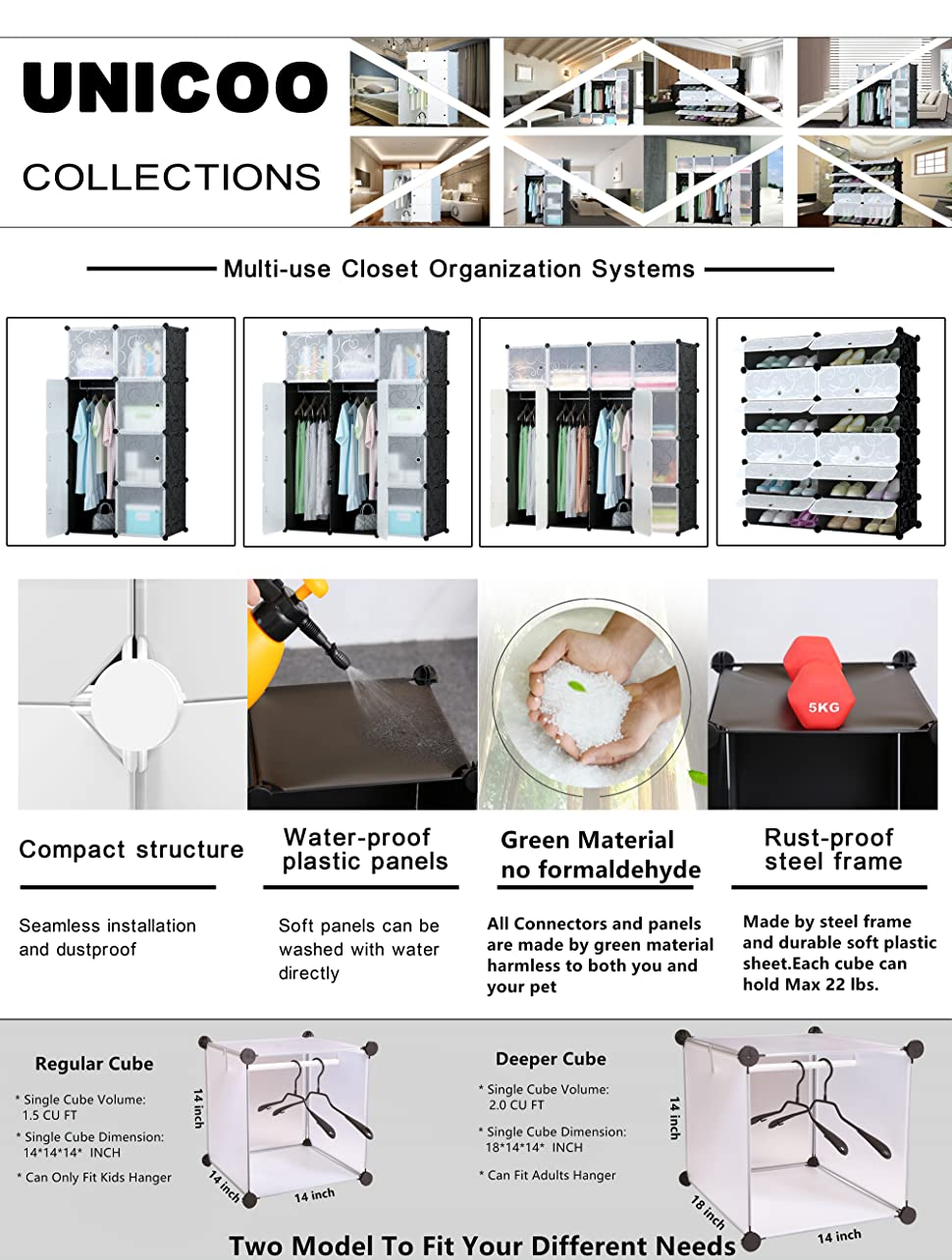 ~~Unicoo   Multi Use DIY 20 Cube Organizer, Bookcase, Storage Cabinet,  Wardrobe Closet   Black With Black + White Door (Deeper Cube)