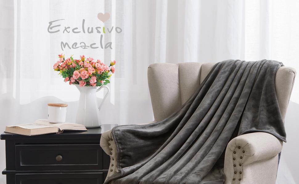 flannel throw- grey