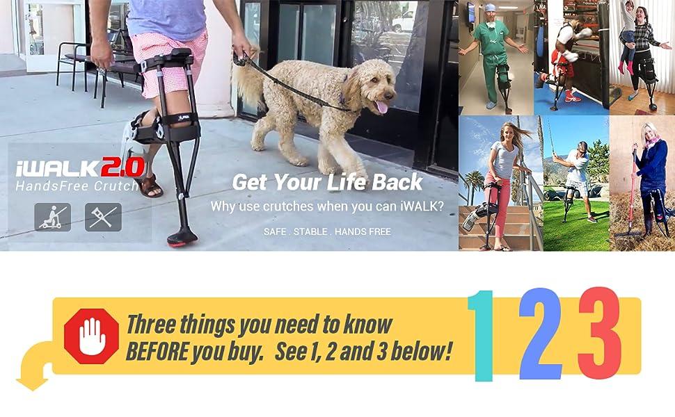 Amazon.com: iWALK 2.0 Muleta de manos libres: Health ...