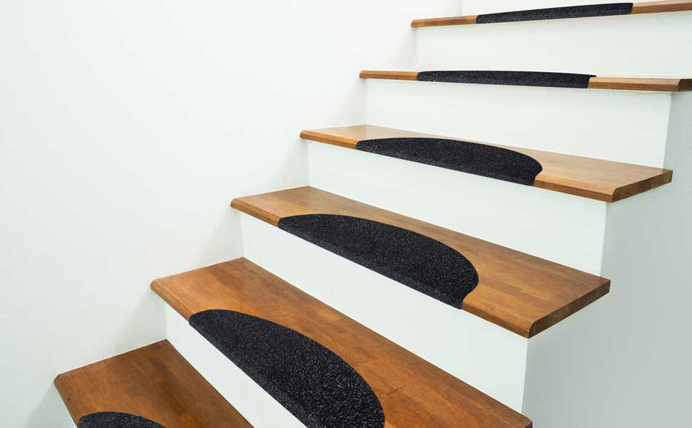 Black Stair Treads On Wooden Stairs  Protective Stair Coverings For Home Or  Commercial Use