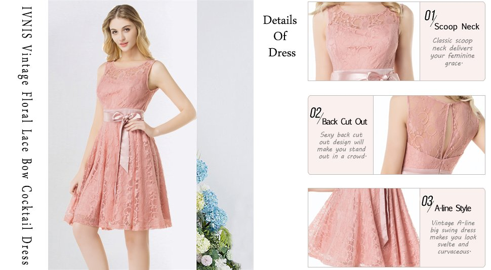 IVNIS RS90026 Women\'s Short Bridesmaid Dress Vintage Floral Lace ...