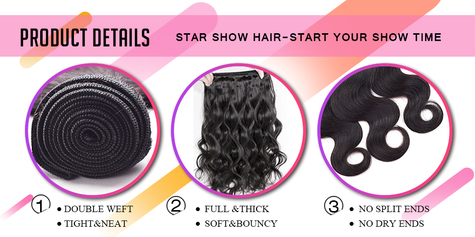 Amazon Star Show Body Wave Bundles Human Hair Extensions