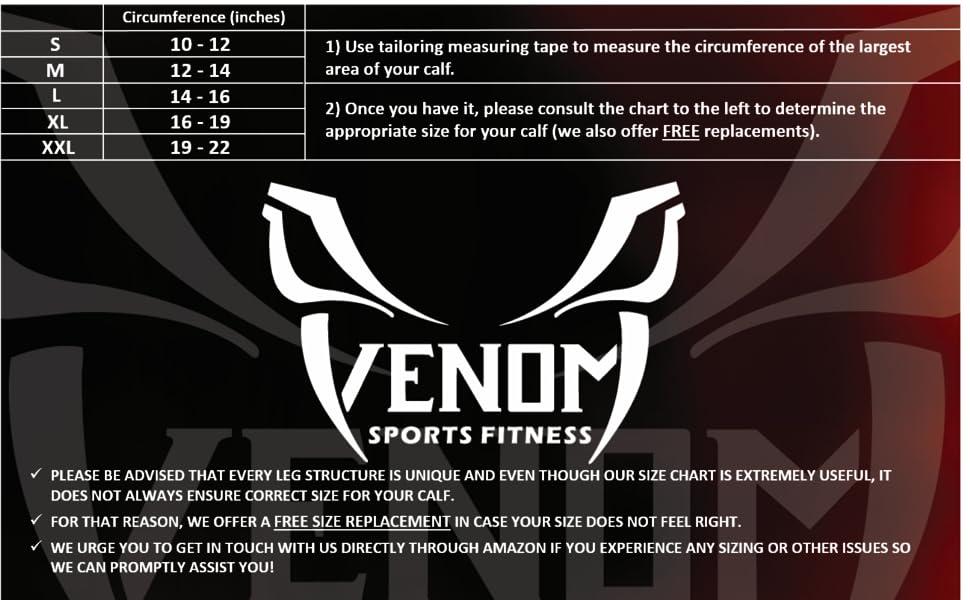 venom sports fitness size chart calf support sleeve brace