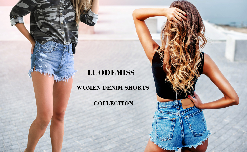 Luodemiss Womens Denim Distressed Shorts Frayed Mid-Rise Denim Shorts for Women Casual Jeans Shorts