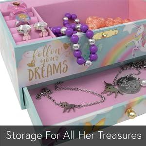 Unicorn Jewelry Box for Gilrs with Unicorn Bracelet and Unicorn Necklace. Unicorn Gifts for Girls