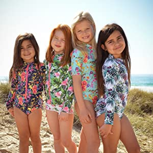 Girls tween kids children long sleeve mid sleeve zip front rashguard swimsuit swimmers bathing suit