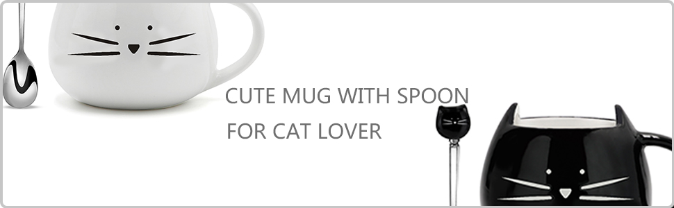 cute cat mug with spoon for cat lover