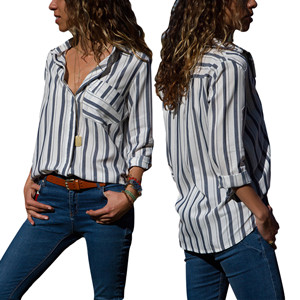 ed783c9635a FARYSAYS Women s Casual V Neck Striped Long Sleeve Button Down T-Shirts  Tops Blouse (S-XXL)